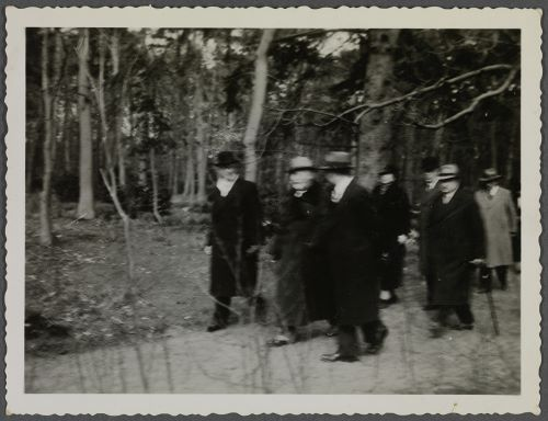 Wilhelm en zijn gezelschap wandelend in Groenendaal, Heemstede