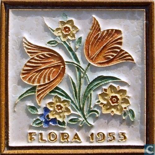 Tegel Flora 1935 bloemen (Catawiki)
