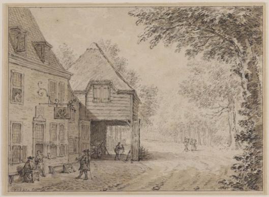 De Dorstige Kuil aan de Herenweg in Heemstede. Tekening van Simon Fokke uit 1760 (Teylers Museum)