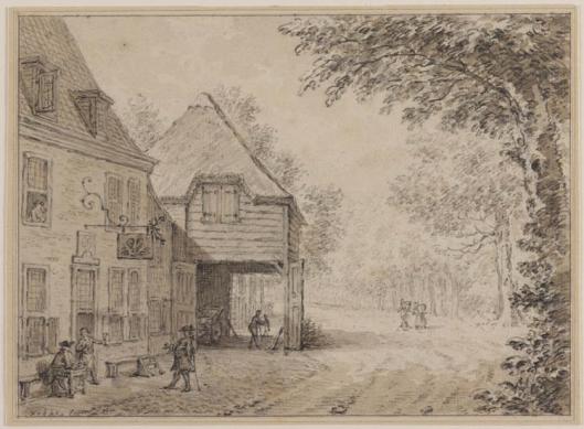 De Dorstige Kuil aan de Herenweg. Tekening van Simon Fokke, 1760 (Teylers Museum)
