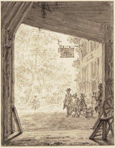 Gezicht op de Herenweg vanuit stal van herberg de Dorstige Kuil, door Simon Fokke, 1762