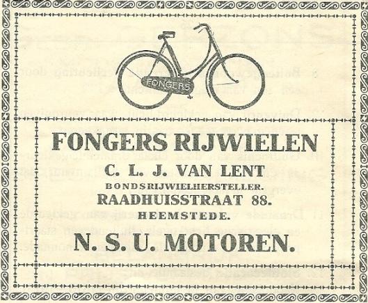 Een advertentie uit 1916 toen Van Lent nog enkel fietsen van het merk Fongers en motoren verhandelde