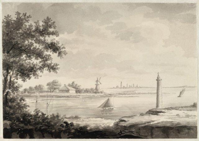 Tekening van James Forbes (1749-1819) uit 1803 met het Haarlemmermeer getekend vanuit de kasteeltuin Heemstede met zicht op de vuurbaak en een windmolen. (Provinciale atlas Noord-Holland)