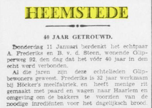 Een bekende Glippenaar was A.Frederiks. Toen hij 40 jaar was getrouwd werd dat berichjt in de OHC van 9-1-1940