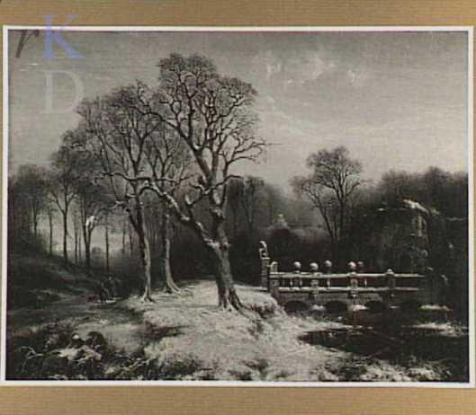 P.J.C.Gabriël. De Vredesbrug van het Oude Slot in 1853. (Gemeentemuseum Den Haag)