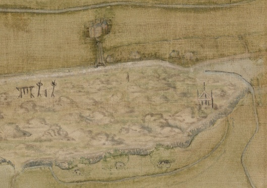 Uitsnede van een kaart uit 1622 met afbeelding van de galg
