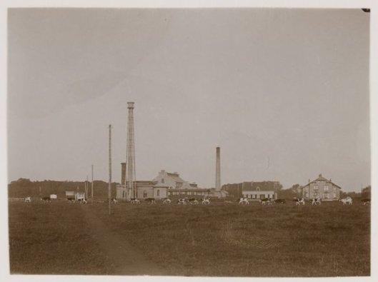 Gebouwen Amsterdamse Waterleding met standtoren, pompgebouw, fabrieksschoorsteen en rechts directeurswoning tussen Herenweg en Leidsevaart, 1903