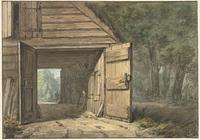Stal van herberg de Geleerde Man, tekening door H.Numan, 1802 (Rijksmuseum)