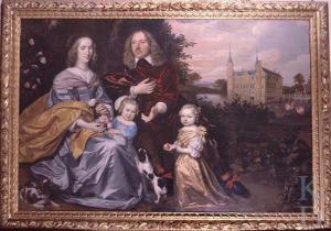 Schilderij van Johannes Mijtens uit 1654 met rechtsboven het Huis te Heemstede. Lang is gedacht dat hier Gerard van Heemstede en echtgenote Agatha van Hartighsvelt en twee kinderen waren afgebeeld. Nader onderzoek heeft geleerd dat een andere zoon van Adriaan pauw, namelijk Michiel Pauw (heer van Hogersmilde) is afgebeeld met diens vrouw Anna Maria Fassin