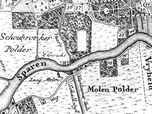 Het gerecht ofwel galgenveld van Haarlem in Heemstede nabij het Spaarne zoals aangegeven op detailkaart uit 1794