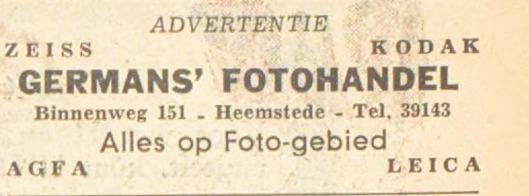 Adv. fotohandel Germans, Binnenweg 151 (1951)