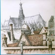 Gezicht vanaf Haas' Azijnfabriek op de Oude Baaf in Haarlem; door Anton Pieck