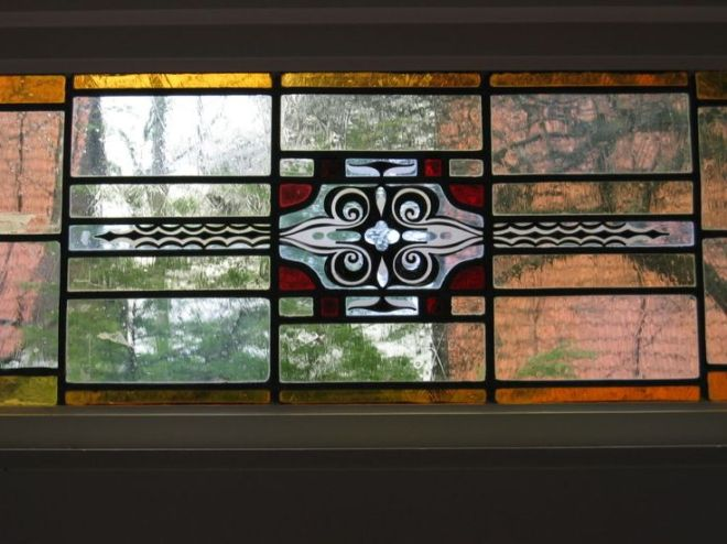 Gebrandschilderd glas in Heemsteeds huis, uit atelier Schmit, 1930