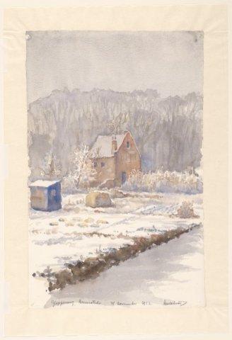 Akkers en huis aan de Glipperweg. Tekening door Adolf Melchior (1898-1962) N.H.A.