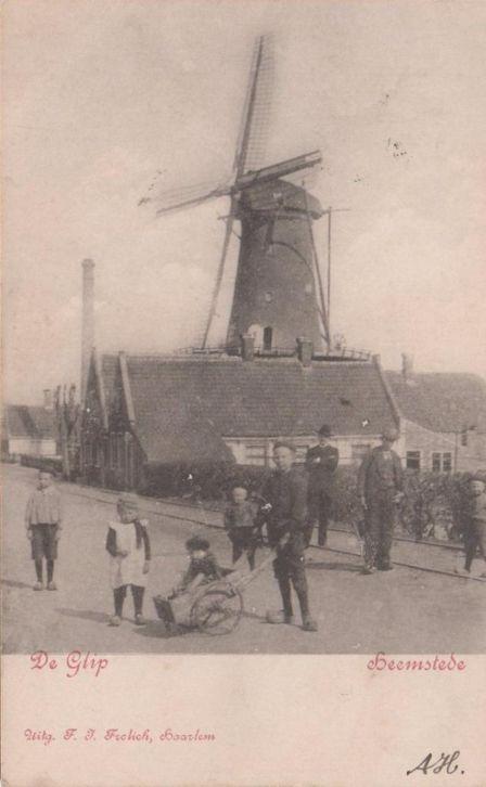 Oude prentbriefkaart van molen op de Glip uit 1904