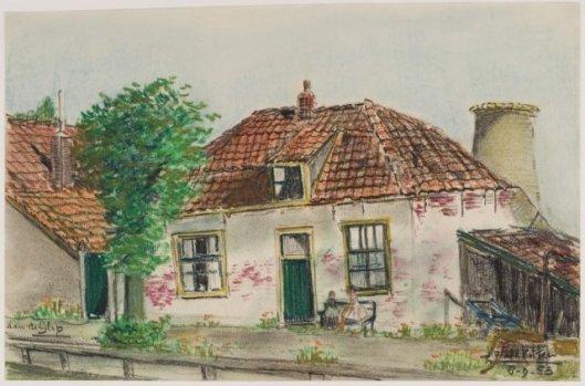 Historische woning aan het Glipperpad; getekend door J.Waldkötter.