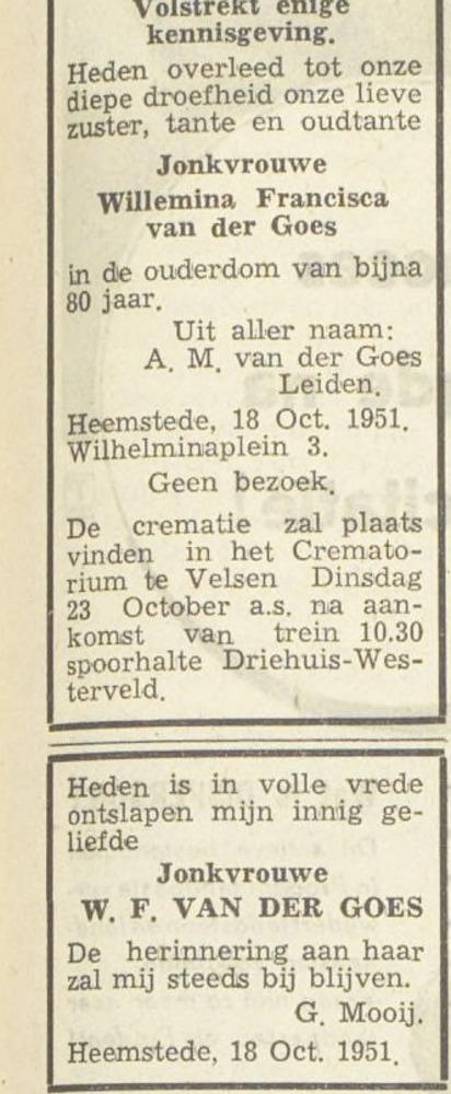 Overlijdensbericht van freule van der Goes, uit: Haarlem's Dagblad van 20 oktober 1951