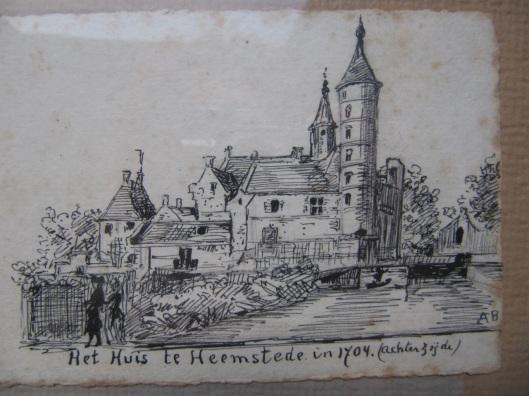 Uit de nalatenschap van mw. W.F. van der Goes ontving de heer Ben van Tongeren in 1978 van G.Faber deze schets [van zeker A.B.] van het Huis te Heemstede. Het is een natekening van een prent uit het boek van Ludolf Smids, Schatkamer der Nederlandsche Oudheden (1711) met etsjes van J.Schijnvoet (gegraverd naar een tekening van Roghman)