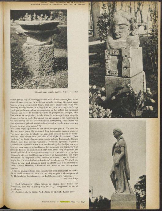 Grafmonumentje Heemstede door beeldhouwer Theo van Reijn, uit: Het Landschap, jaargang 33, 1938