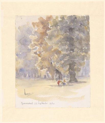Spelende kinderen onder een beuk in Groenendaal. Tekening door A.Melchior (1898-1962 N.H.A.