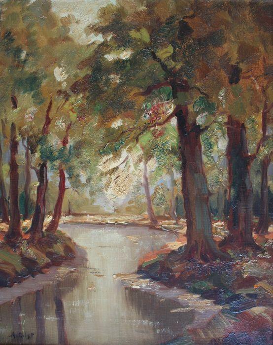 Groenendaal-Bosbeek, door Arnout van Gilst (1898 geboren in Den Haag, 1937 verhuisd naar Haarlem, in 1982 overleden te Bennebroek)