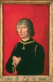 Portret van Lodewijk van Gruuthuse in olieverf op paneel van eikenhout in Brugge