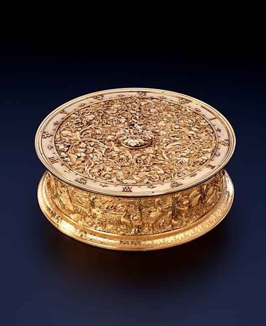 Goud-zilveren Renaissanceklok ontdekt in hetLandesmuseum Württemberg Stuttgart uit de collectie Eugen/Fritz Gutmann