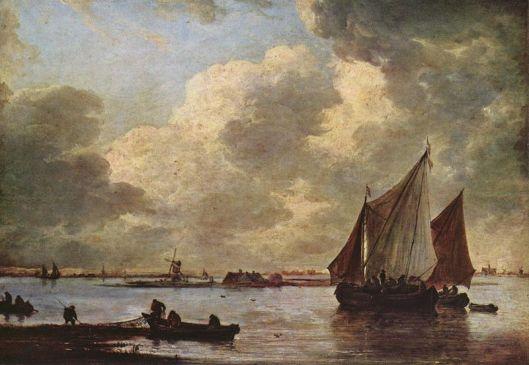 De Haarlemmermeer, in 1656 geschilderd door Jan van Goyen. Aan de einder links Hillegom, midden Heemstede, rechts de St.Bavokerk in Haarlem. Het eilandje is mogelijk Ruyshout/Rijjsenhout, in de 16e eeuw bij een hevige storm afgeslagen van Heemstede