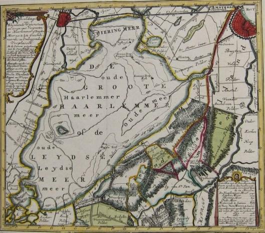 Kopergravure van Haarlemmermeer en omliggende plaatsen; door Hendrik de Leth, 1740