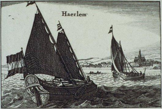 Schepen op het Haaelemmermeer (vooraan met het wapen van Amsterdam) en de Bavokerk in de verte (Nicolaas Visscher, circa 1670 . NHA)