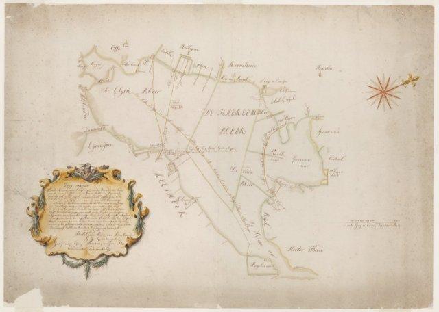 Kaart van afgeslagen land van Heemstede in het Haarlemmermeer. Tekening door Anthony van Velsen (1691-1733). Kopie van 'schijdinge in de jurisdictie Heemstede in de Groote Meer' door Balthasar Floriszoon van Berkenrode uit 1627