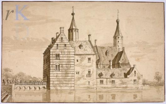 Het Huis Te Heemstede in 1727, pentekening toegeschreven aan Abraham de Haen (Iconografisch Bureau)