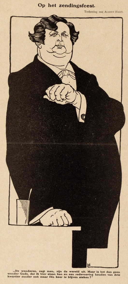 Cartoon van Albert Hahn op het zendingsfeest in 1910