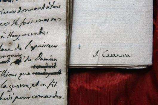 Handschrift van Giacomo Casanova, thans in de Narionale Bibliotheek van Frankrijk, Parijs.