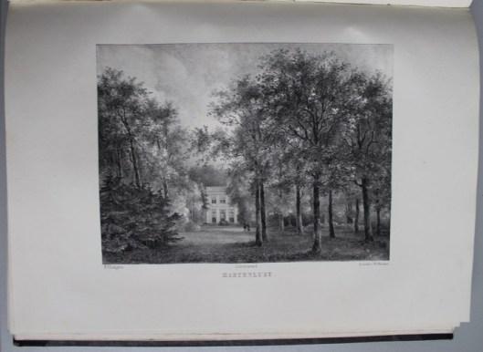 De hofstede hartenlust aan de straatweg tussen Overveen en Bloemendaal. Aangelegd door J.D.Zocher en omstreeks 1840 toebehorende aan Vrouwe J.A.van Vollenhoven Douairière Baron Mr. J.van Styrum