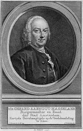Gravure door Jacobus Houbraken van Gerard Aarnout Hasselaer, burgemeester van Amsterdam, eigenaar van Bosbeek