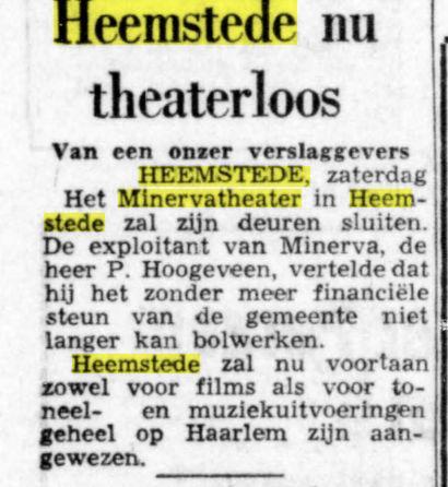 'Heemstede nu theaterlóos'. Uit De Telegraaf van 27-7-1968