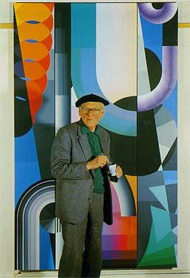 De kunstenaar Berend Hendriks (1918-1997) in zijn atelier te Arnhem