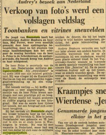 Bezoek van Audrey Hepburg aan oorlosinvalide Prins in Heemstede. Uit: Leeuwarder Courant, 3-11-1954
