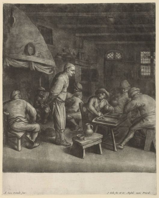 Interieur van een herberg in de Hout. Ets van Adriaan van Ostade