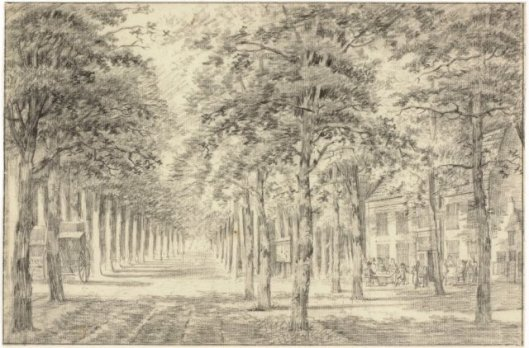 Heerenlogemeent aan de Dreef, in de Haarlemmerhout. Tekening door Hermanus Fock (1766-1822), circa 1810 (NHA)