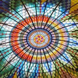 Lichtkoepel van glas-in-lood in Maison de Bonneterie (Den Haag), vervaardigd door Roel Hildebrand.