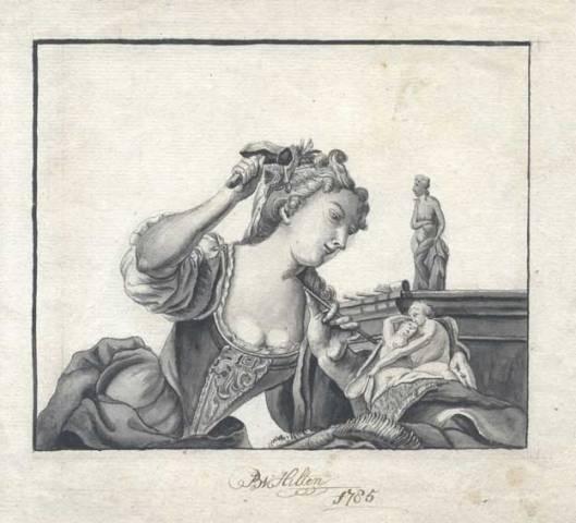 Tekening van Bruin van Hilten (1765-1845) uit 1785. 'meesterschilder van huizen, rijtuigen en heraldische wapens' die in zijn vrije tijd ornamenten tekende en graveerde. Hij bewoonde het huis Binnenweg 10 in Bennebroek.