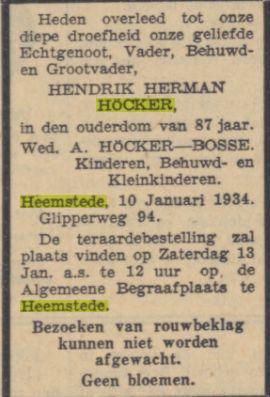 Overlijdensbericht H.H.Höcker. Uit: Algemeen Dagblad van 11-1-1934