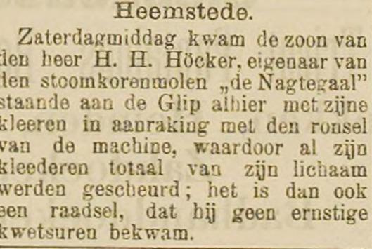 Een bedrijfsongeval dat goed afliep. Bericht uit Haarlem's Dagblad van 28 mei 1899.