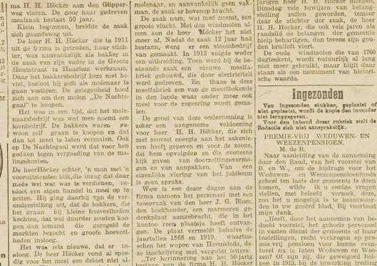 Artikel uit Haarlem's Dagblad van 12 mei 1919 naar aanleiding van 50 jaar Höcker meelfabriek