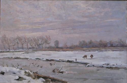 Het landje van Höcker aan de Höckervaart, in de winter van 1970 geschikderd door A.C.van Noort.