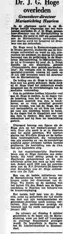 Dr.J.G.Hoge overleden. Uit: De Tijd, 4-10-1957