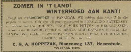 Advertentie van hoedenzaak Hoppezak uit 1930