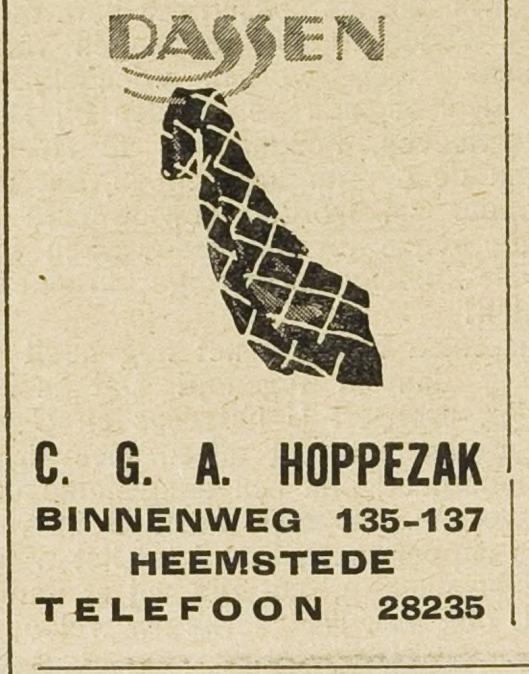 Advertentie Hoppezak dassen, Binnenweg 135-137 (Eeerste Heemsteedsche Courant, 22-4-1932)